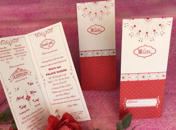 Thiệp cưới đẹp - giá rẻ - Thiệp cưới 1705 Đỏ
