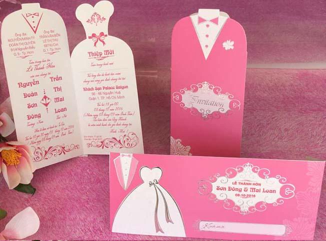 Thiệp cưới đẹp - giá rẻ - Thiệp cưới 1702 Hồng