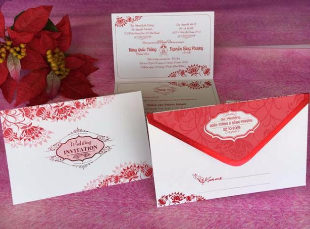 Thiệp cưới đẹp - giá rẻ - Thiệp cưới 1719 Đỏ