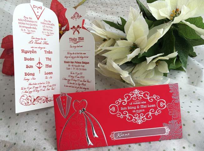 Thiệp cưới đẹp - giá rẻ - Thiệp cưới 1702 Đỏ