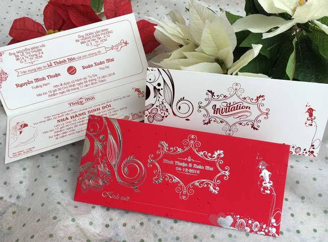 Thiệp cưới đẹp - giá rẻ - Thiệp cưới 1711 Đỏ