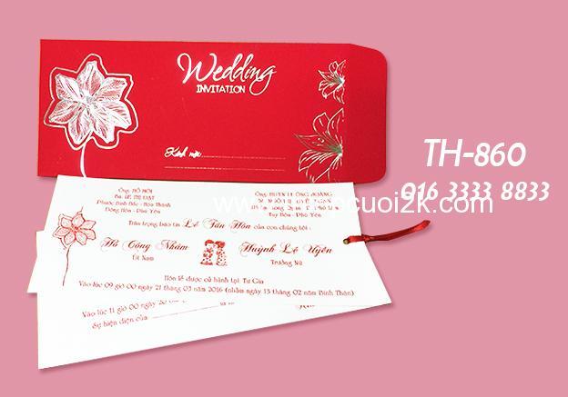 Mẫu thiệp cưới 2k giá rẻ Thiệp Hoa TH-860