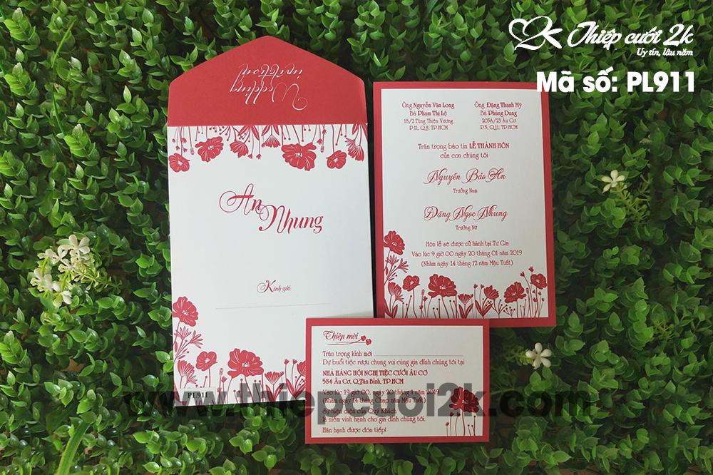 Mẫu thiệp cưới 2k giá rẻ Thiệp cưới PL911 Offset