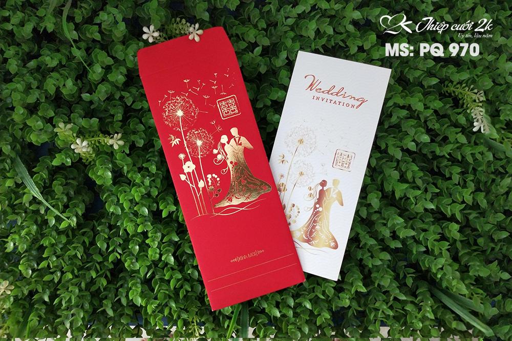 Mẫu thiệp cưới 2k giá rẻ Thiệp cưới PQ 970 Đỏ nhung