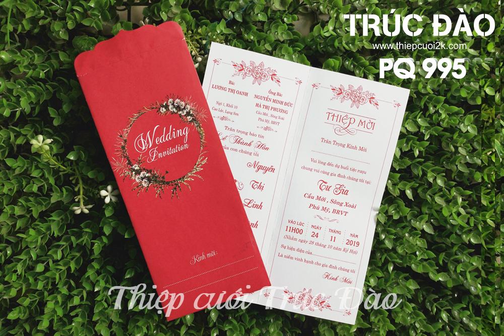 Mẫu thiệp cưới 2k giá rẻ Thiệp cưới PQ 995 Đỏ