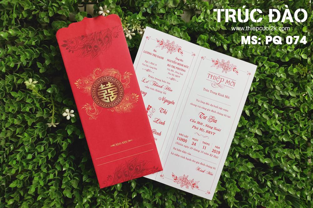 Mẫu thiệp cưới 2k giá rẻ Thiệp cưới PQ 074