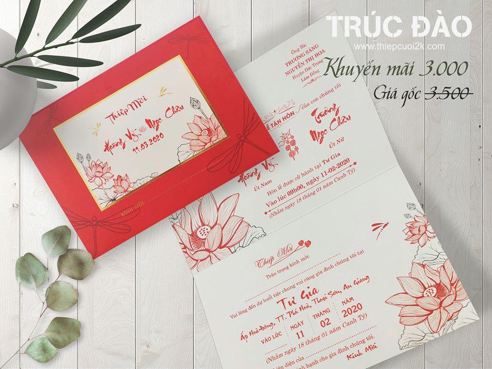 Mẫu thiệp cưới 2k giá rẻ Thiệp Cưới LB094 Đỏ