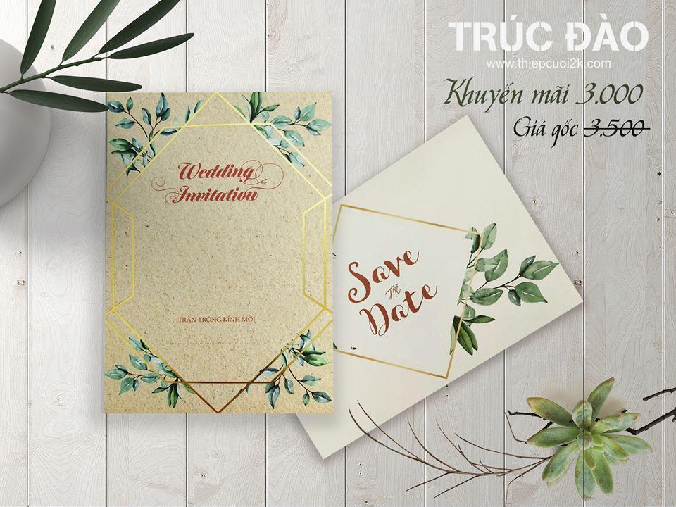 Mẫu thiệp cưới 2k giá rẻ Thiệp Cưới LB093