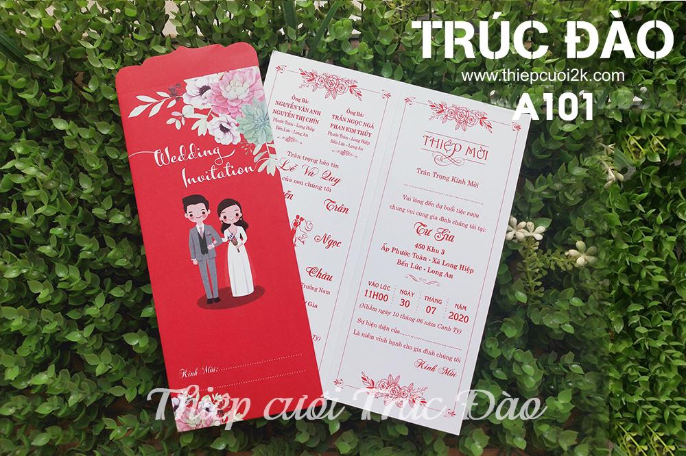 Mẫu thiệp cưới 2k giá rẻ Thiệp cưới A101 đỏ