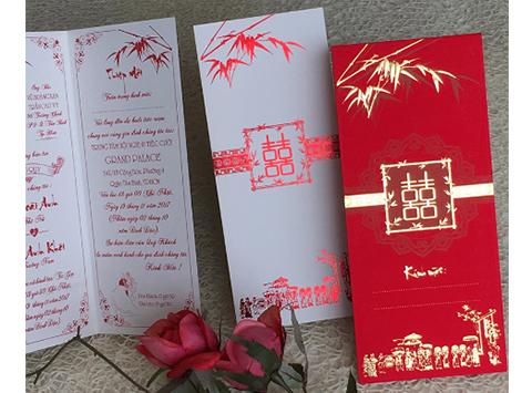 Mẫu thiệp cưới 2k giá rẻ Thiệp cưới 1803 Đỏ