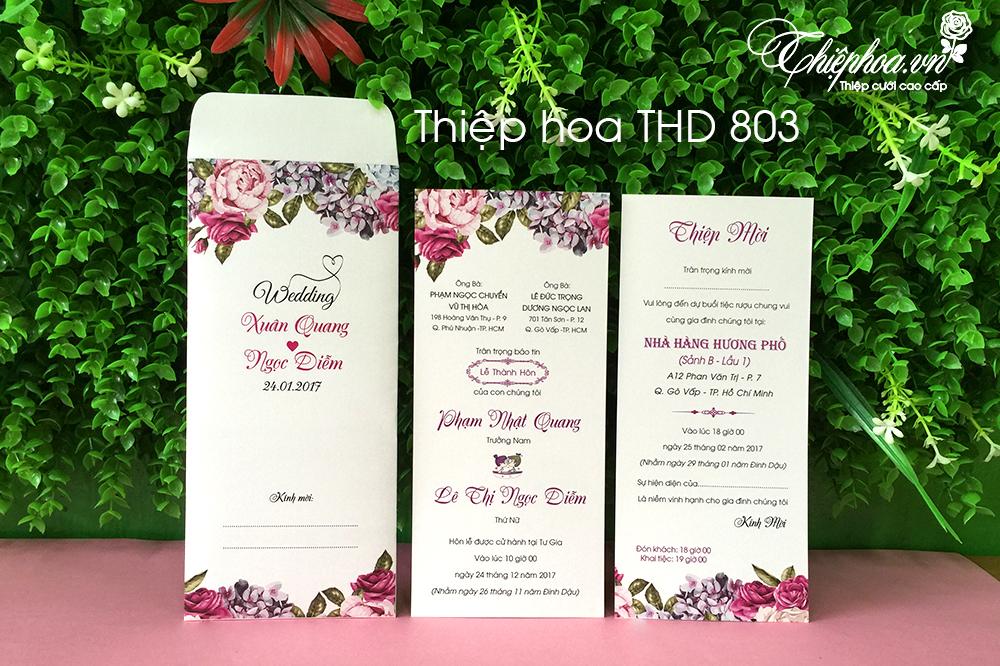 Thiệp cưới đẹp - giá rẻ - Thiệp Hoa THD 803